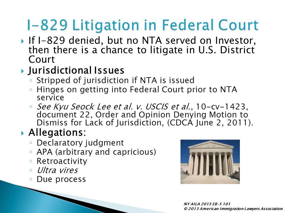 I-829 Litigation in Federal Court