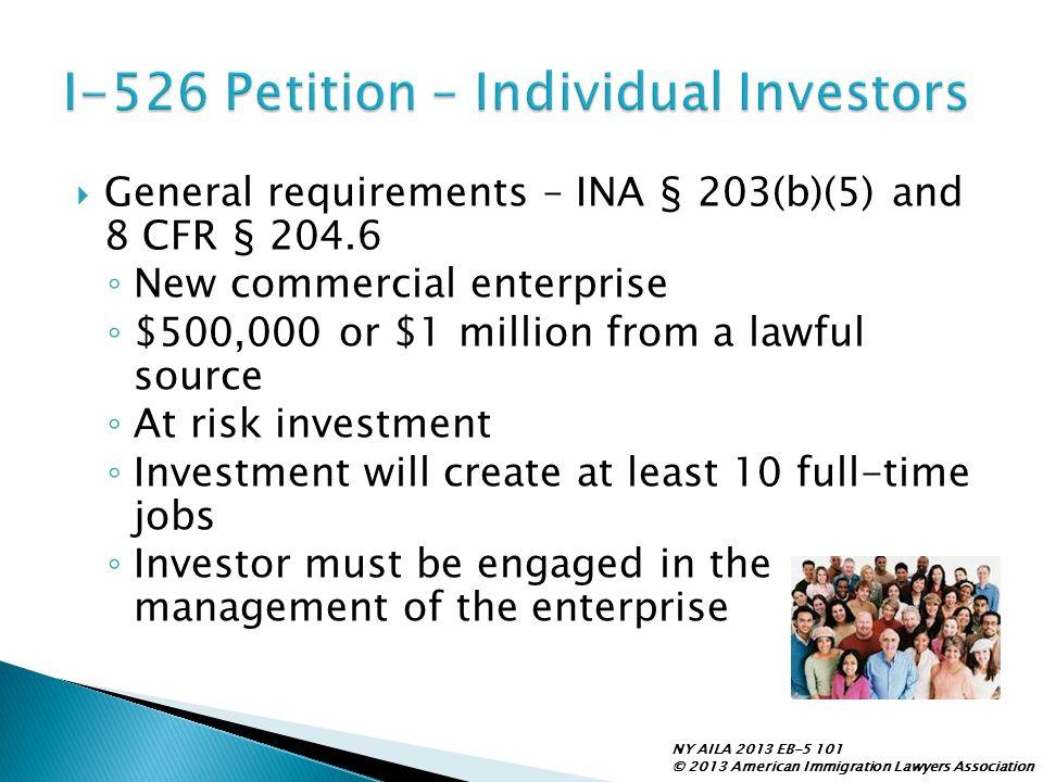 I-526 Petition – Individual Investors