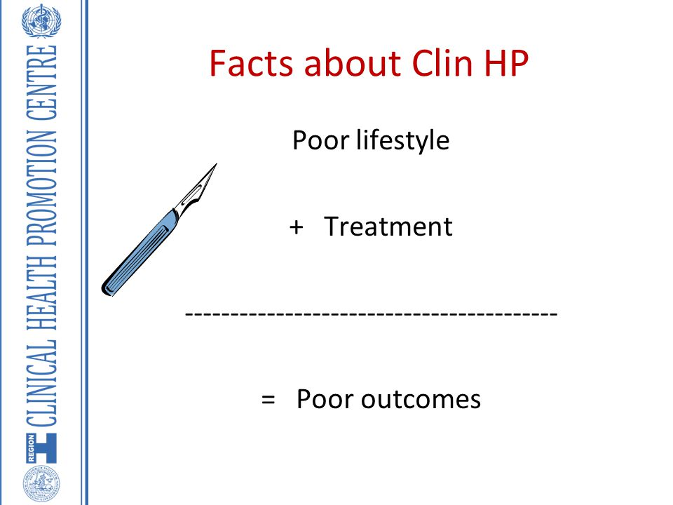 Facts about Clin HP Poor lifestyle + Treatment ----------------------------------------- = Poor outcomes