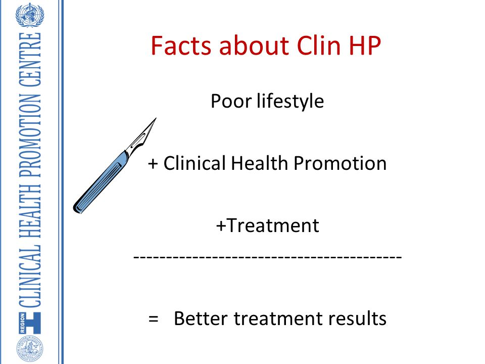 Facts about Clin HP Poor lifestyle + Clinical Health Promotion +Treatment ----------------------------------------- = Better treatment results