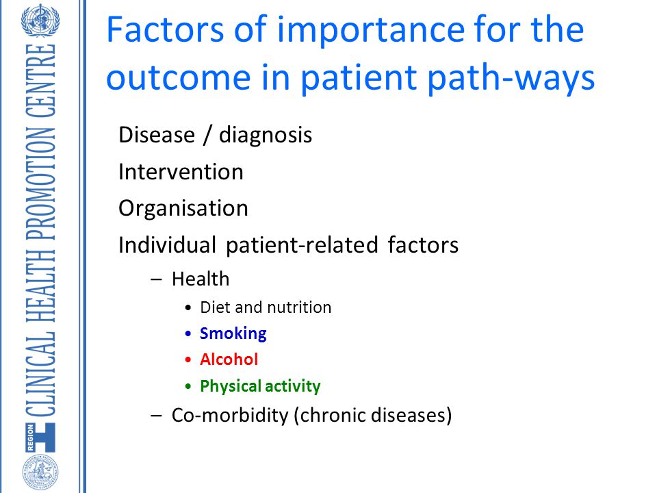 Factors of importance for the outcome in patient path-ways