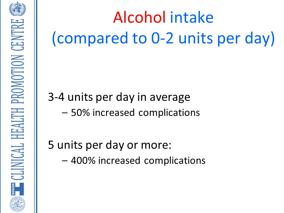 Alcohol intake (compared to 0-2 units per day)