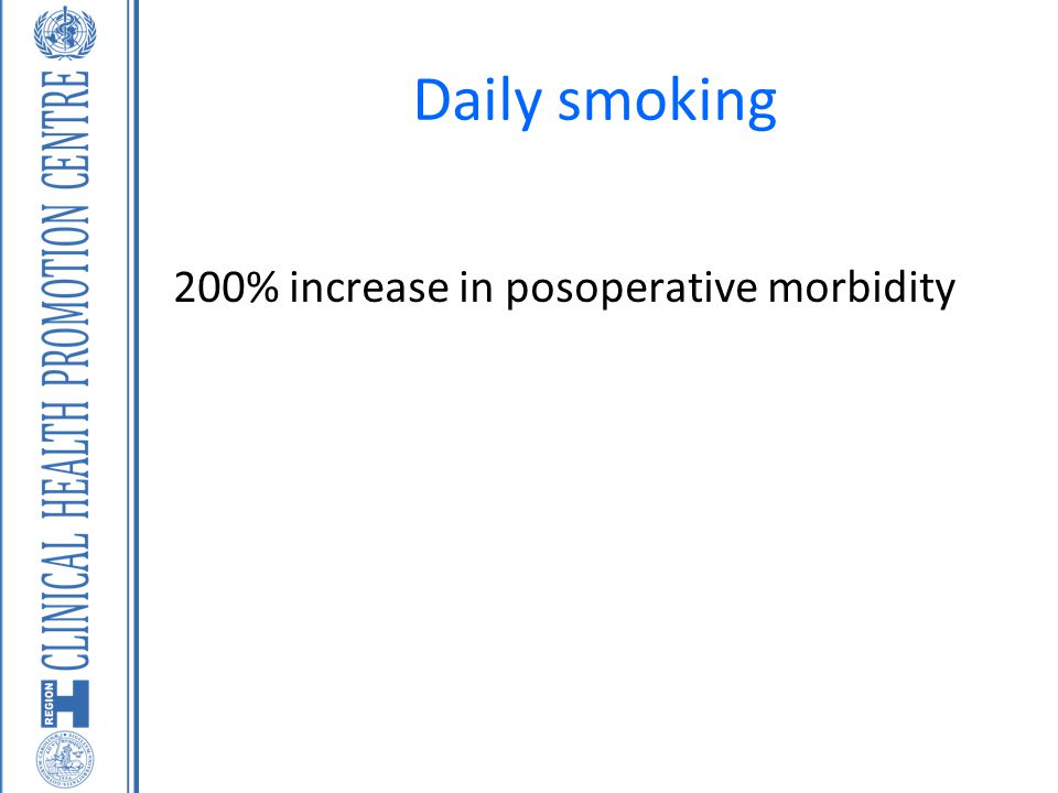Daily smoking 200% increase in posoperative morbidity