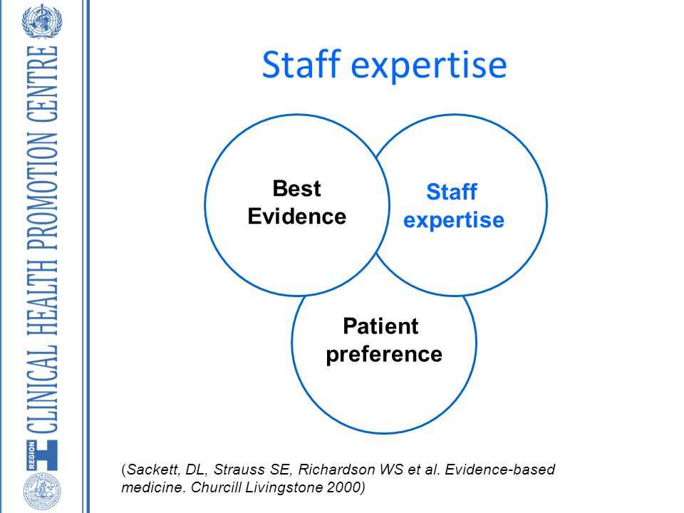 Staff expertise Best Staff Evidence expertise Patient preference
