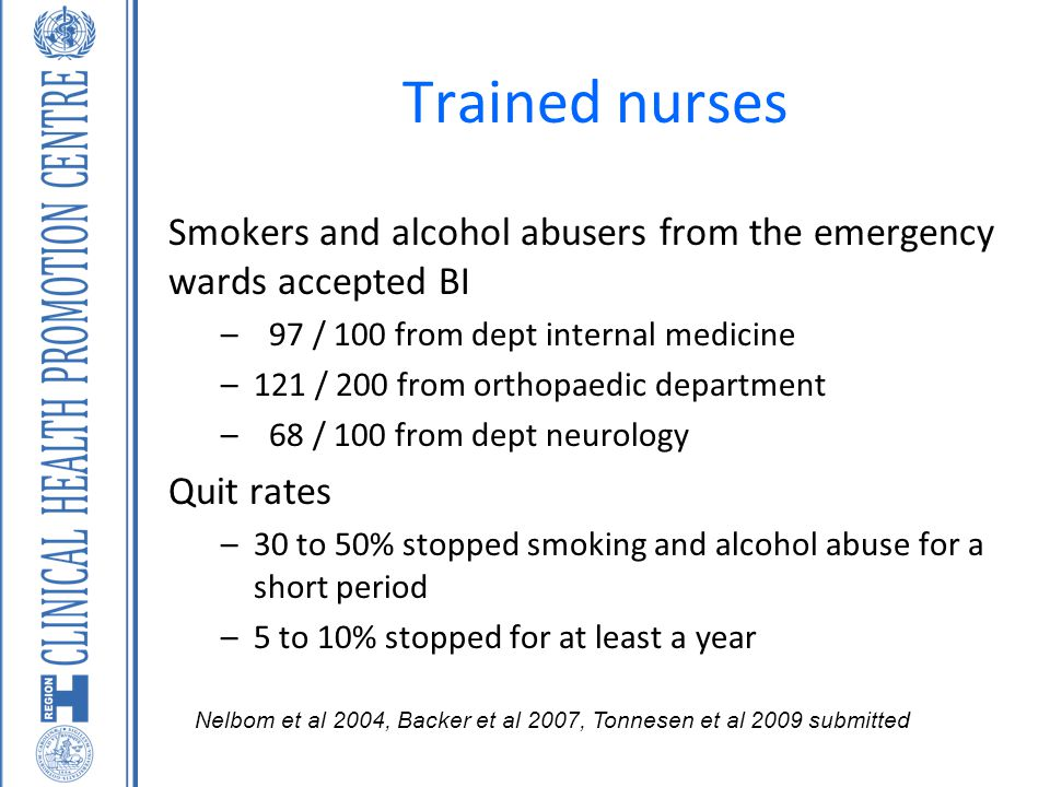 Trained nurses Smokers and alcohol abusers from the emergency wards accepted BI. 97 / 100 from dept internal medicine.