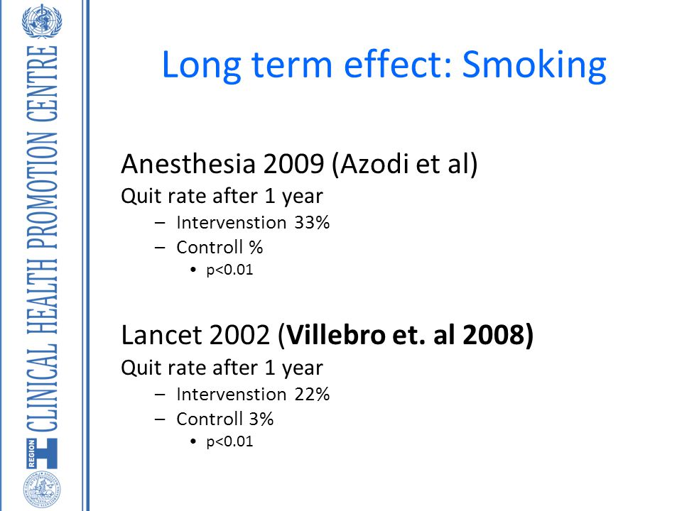 Long term effect: Smoking