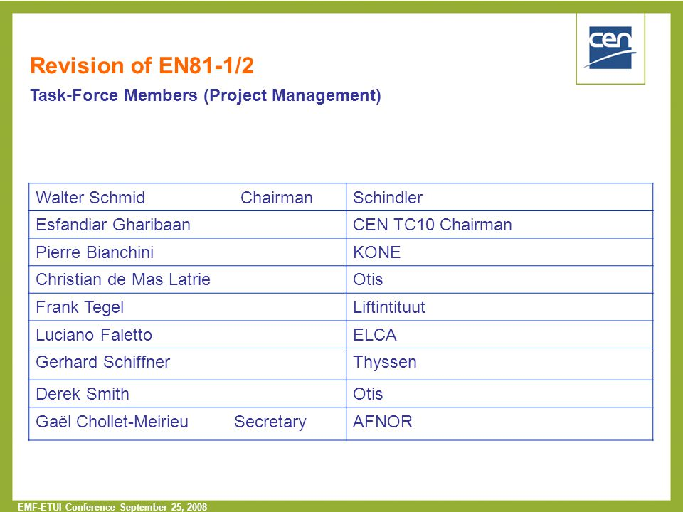 Revision of EN81-1/2 Task-Force Members (Project Management)