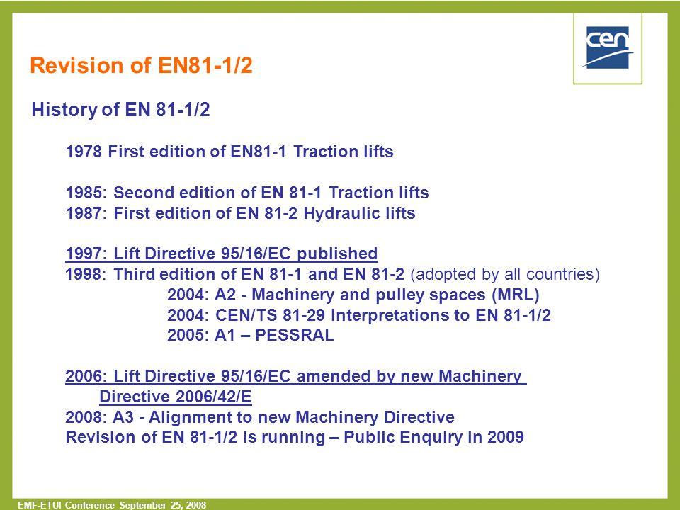 Revision of EN81-1/2 History of EN 81-1/2