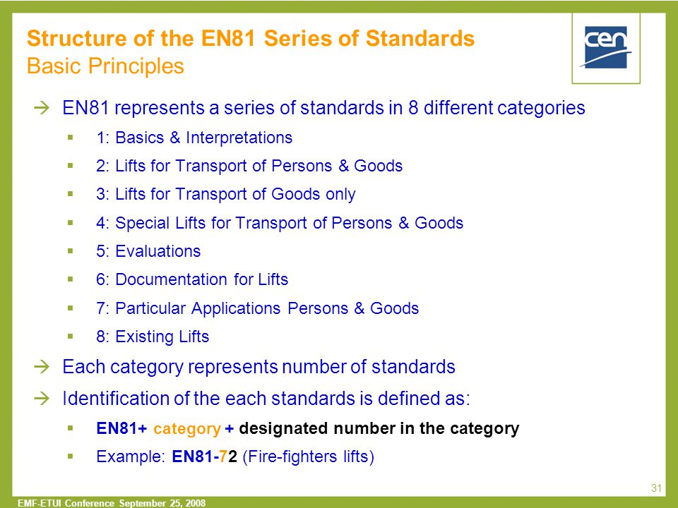 Structure of the EN81 Series of Standards Basic Principles