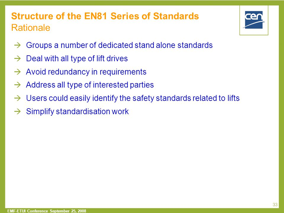 Structure of the EN81 Series of Standards Rationale
