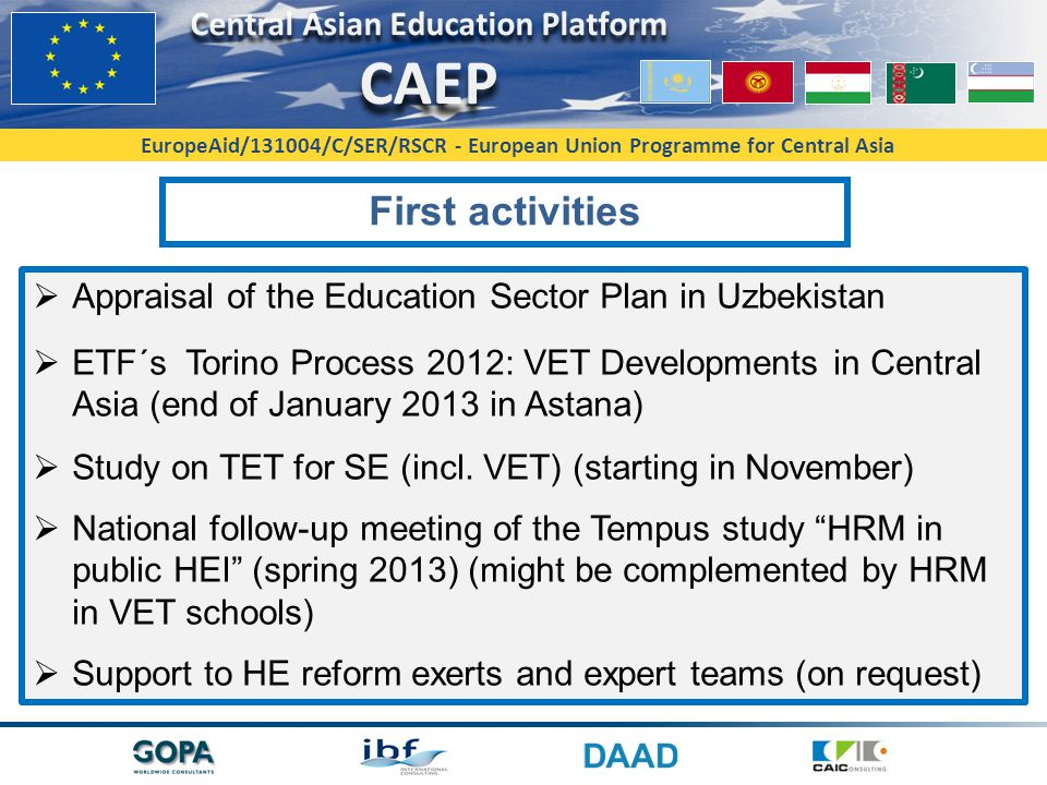 First activities Appraisal of the Education Sector Plan in Uzbekistan