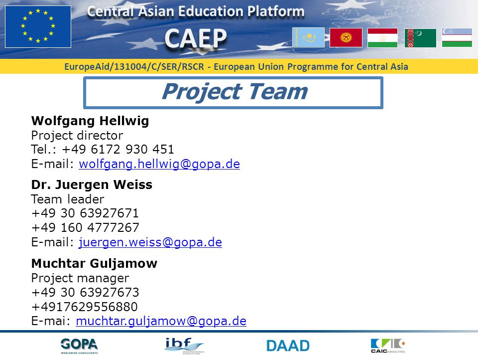 Project Team Wolfgang Hellwig Project director Tel.: +49 6172 930 451 E-mail: wolfgang.hellwig@gopa.de.