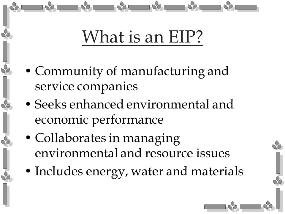 What is an EIP Community of manufacturing and service companies