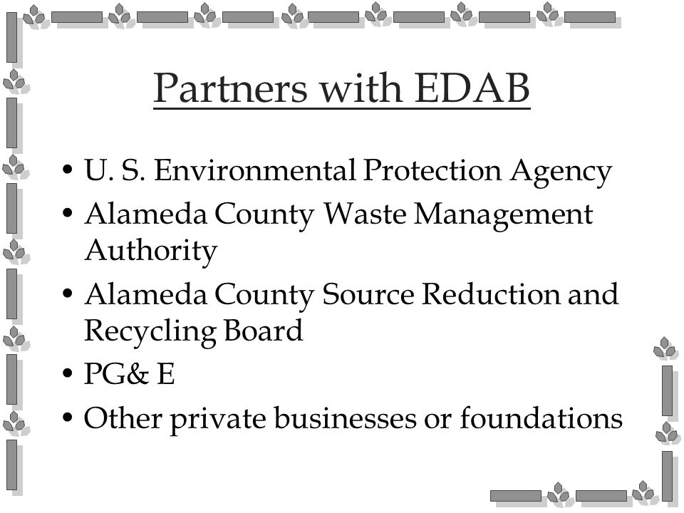 Partners with EDAB U. S. Environmental Protection Agency