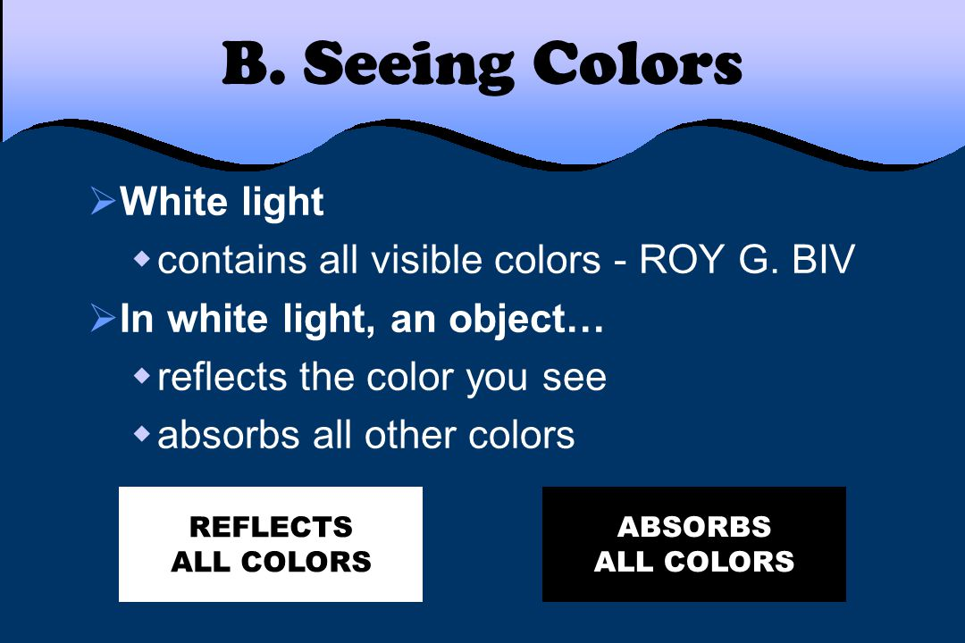 B. Seeing Colors White light contains all visible colors - ROY G. BIV