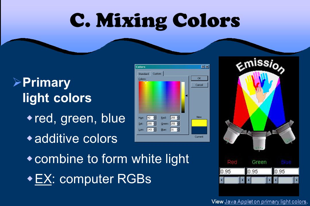 View Java Applet on primary light colors.