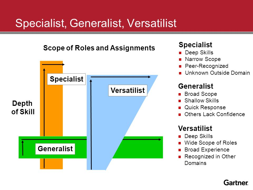 Specialist, Generalist, Versatilist