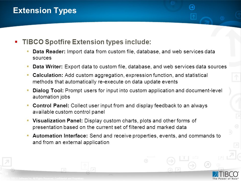 Extension Types TIBCO Spotfire Extension types include: