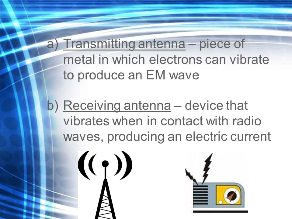 Transmitting antenna – piece of metal in which electrons can vibrate to produce an EM wave