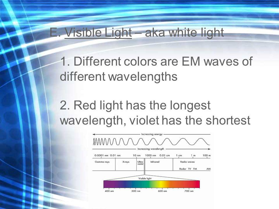 E. Visible Light – aka white light 1