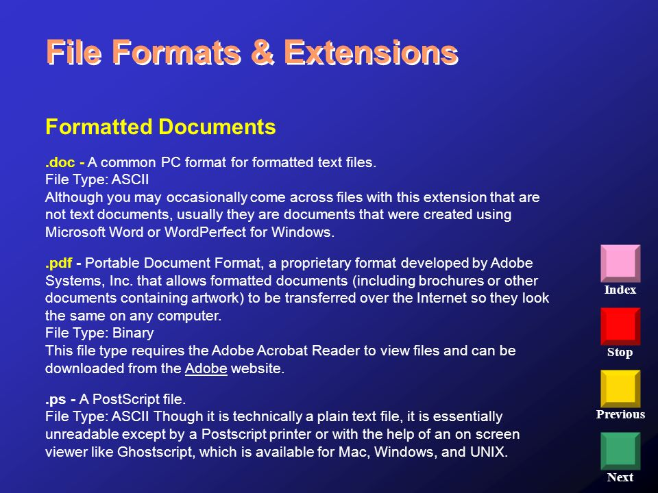 File Formats & Extensions