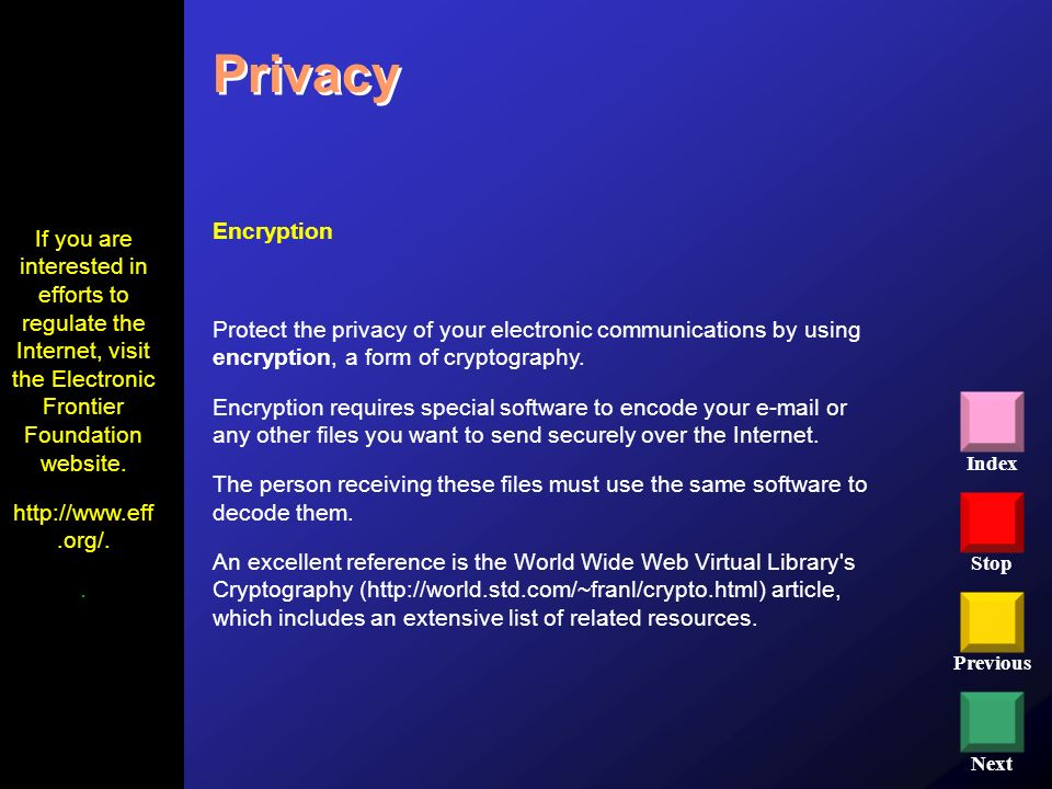 Privacy Encryption. Protect the privacy of your electronic communications by using encryption, a form of cryptography.