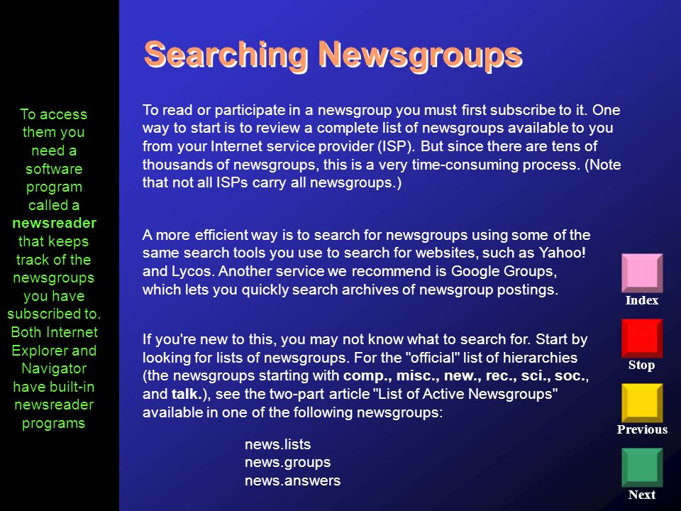 Searching Newsgroups