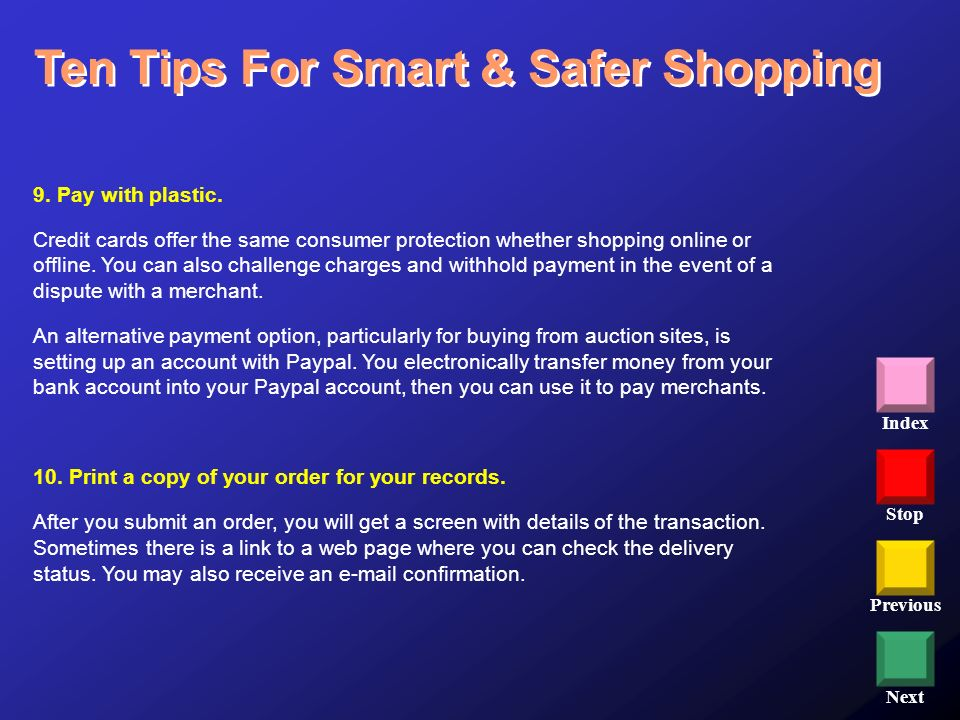 Ten Tips For Smart & Safer Shopping