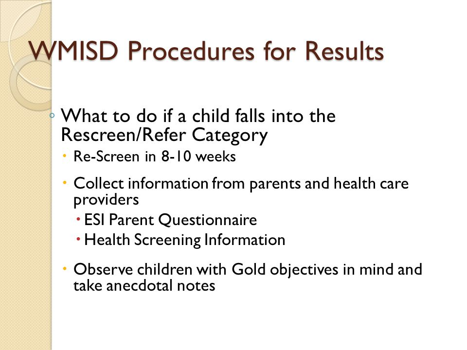 WMISD Procedures for Results