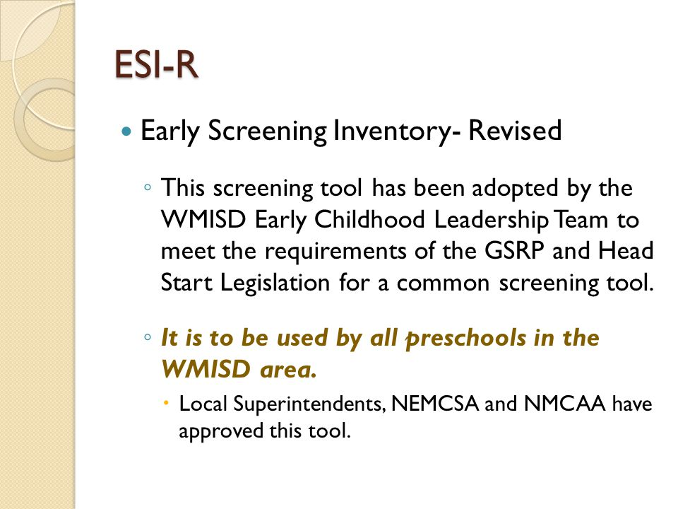 ESI-R Early Screening Inventory- Revised