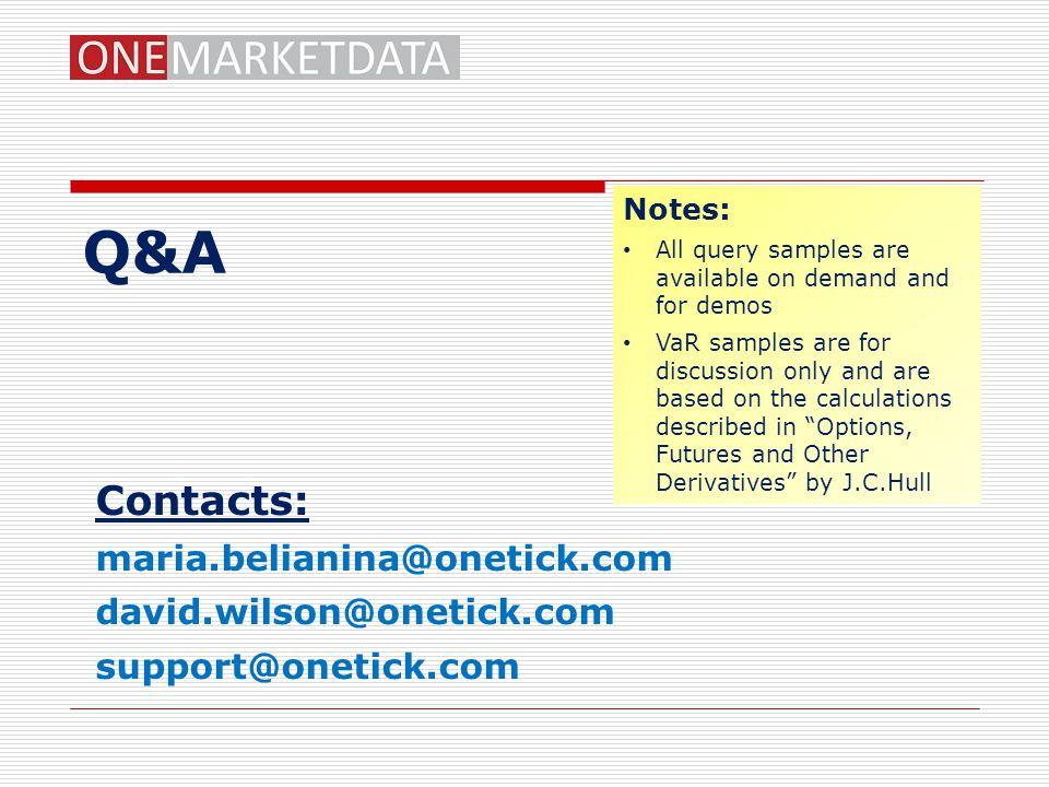 Q&A Contacts: maria.belianina@onetick.com david.wilson@onetick.com
