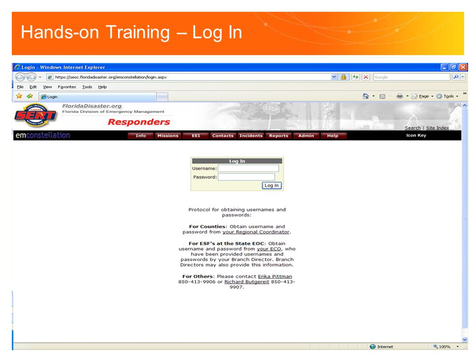 Hands-on Training – Log In