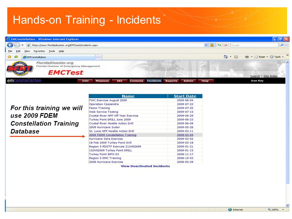 Hands-on Training - Incidents