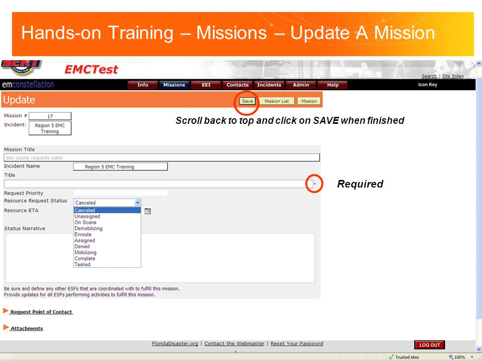 Hands-on Training – Missions – Update A Mission