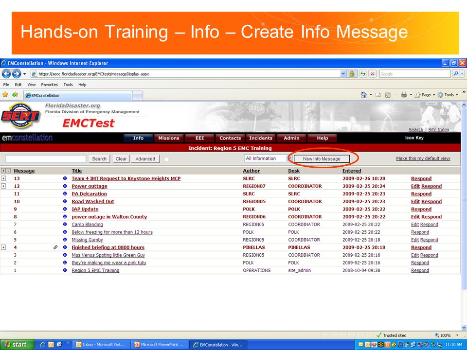 Hands-on Training – Info – Create Info Message