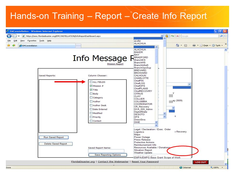 Hands-on Training – Report – Create Info Report