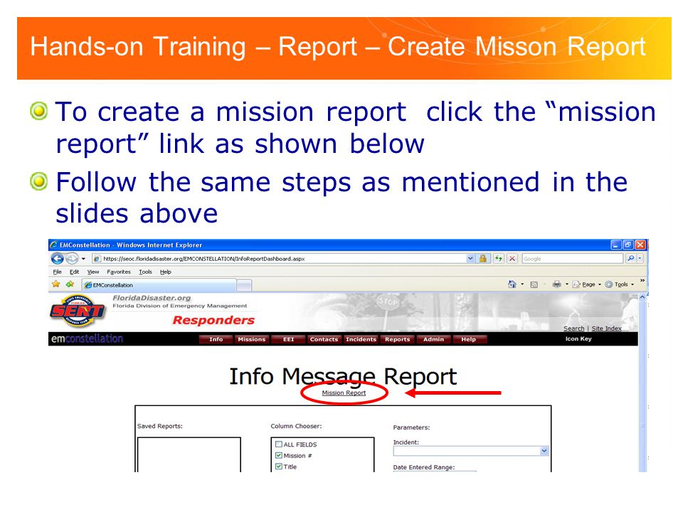 Hands-on Training – Report – Create Misson Report
