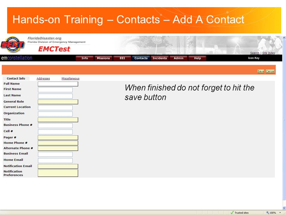 Hands-on Training – Contacts – Add A Contact