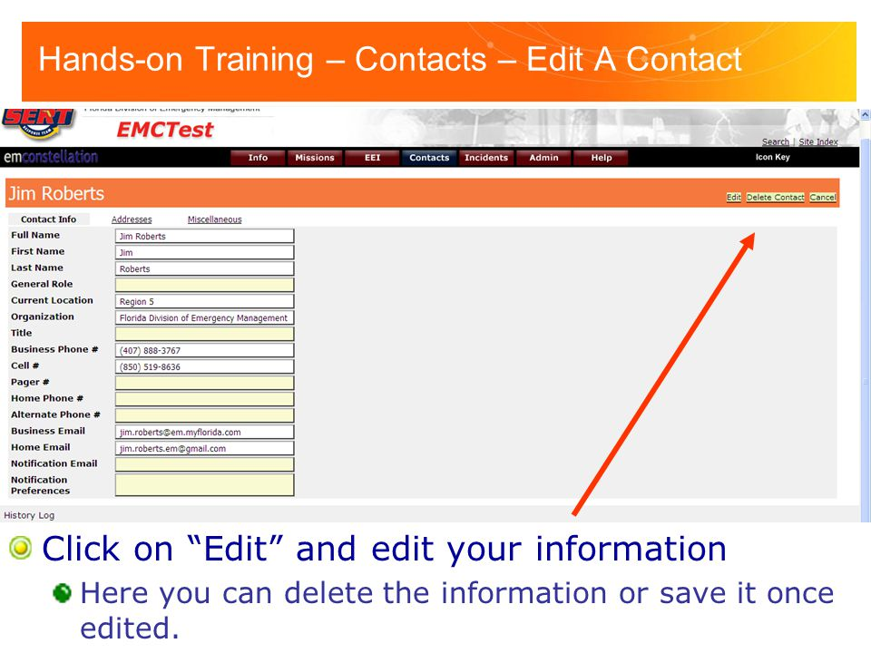 Hands-on Training – Contacts – Edit A Contact