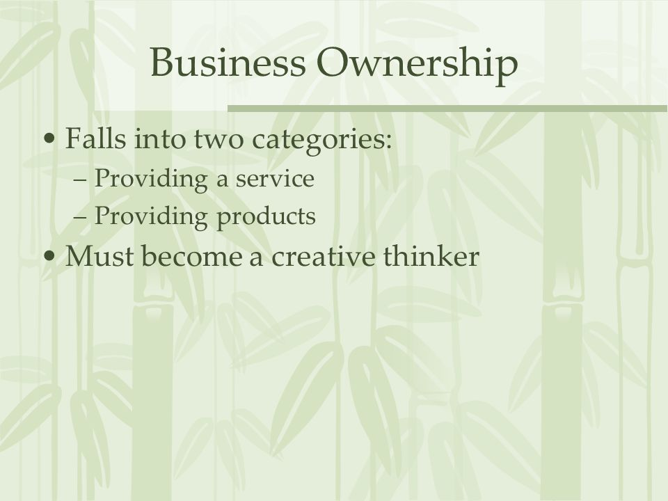 Business Ownership Falls into two categories: