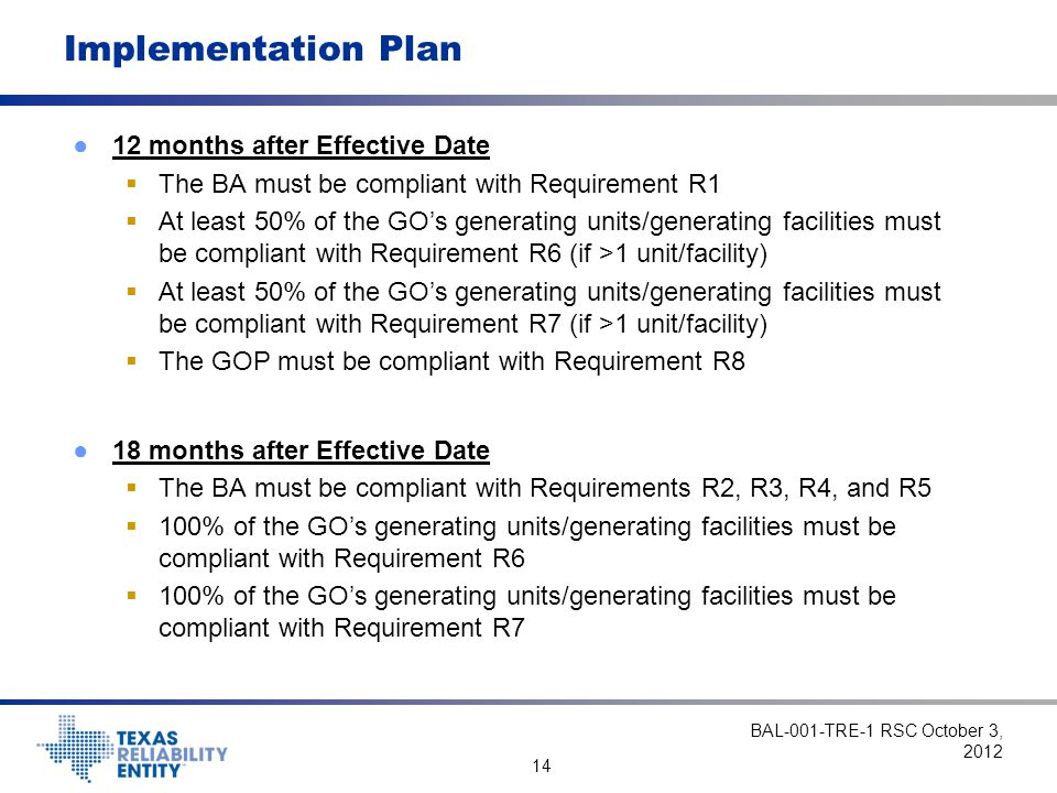 Implementation Plan 12 months after Effective Date