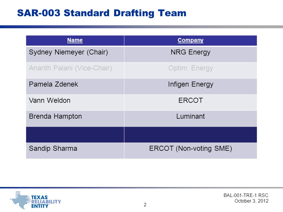SAR-003 Standard Drafting Team