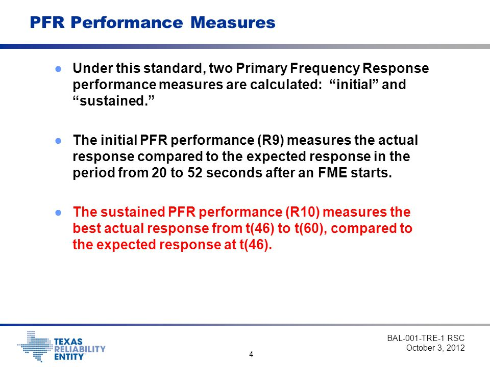 PFR Performance Measures