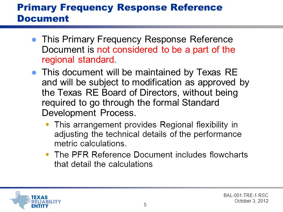 Primary Frequency Response Reference Document