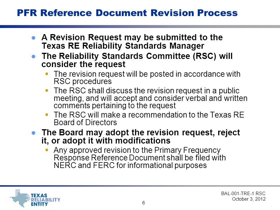 PFR Reference Document Revision Process