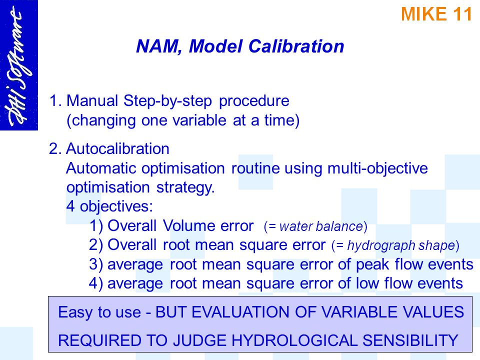 NAM, Model Calibration 1. Manual Step-by-step procedure (changing one variable at a time)