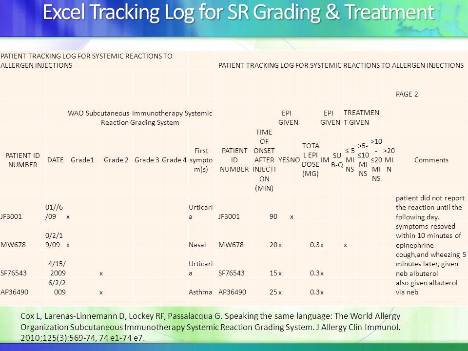 Excel Tracking Log for SR Grading & Treatment