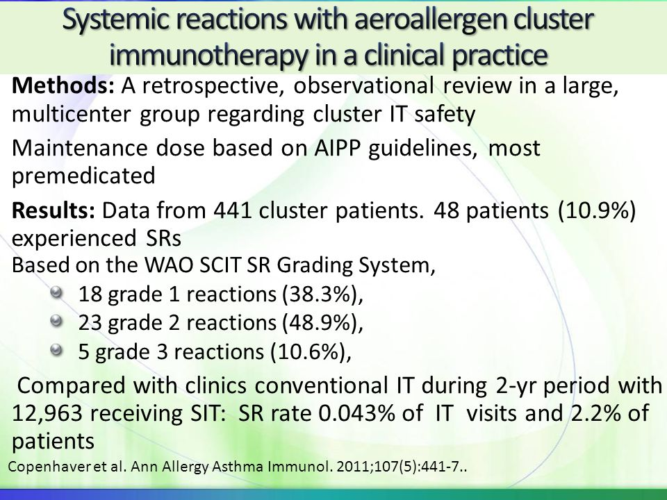 Systemic reactions with aeroallergen cluster immunotherapy in a clinical practice
