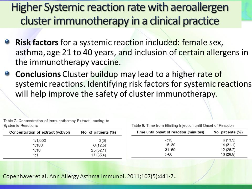 Higher Systemic reaction rate with aeroallergen cluster immunotherapy in a clinical practice