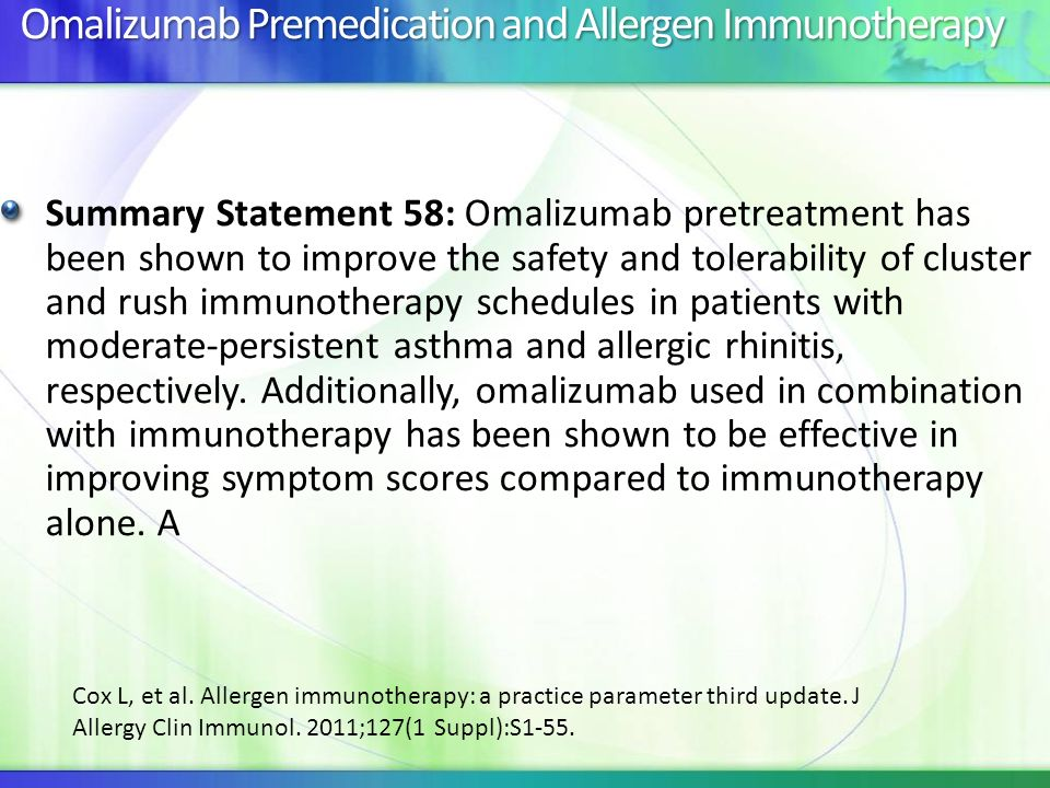 Omalizumab Premedication and Allergen Immunotherapy